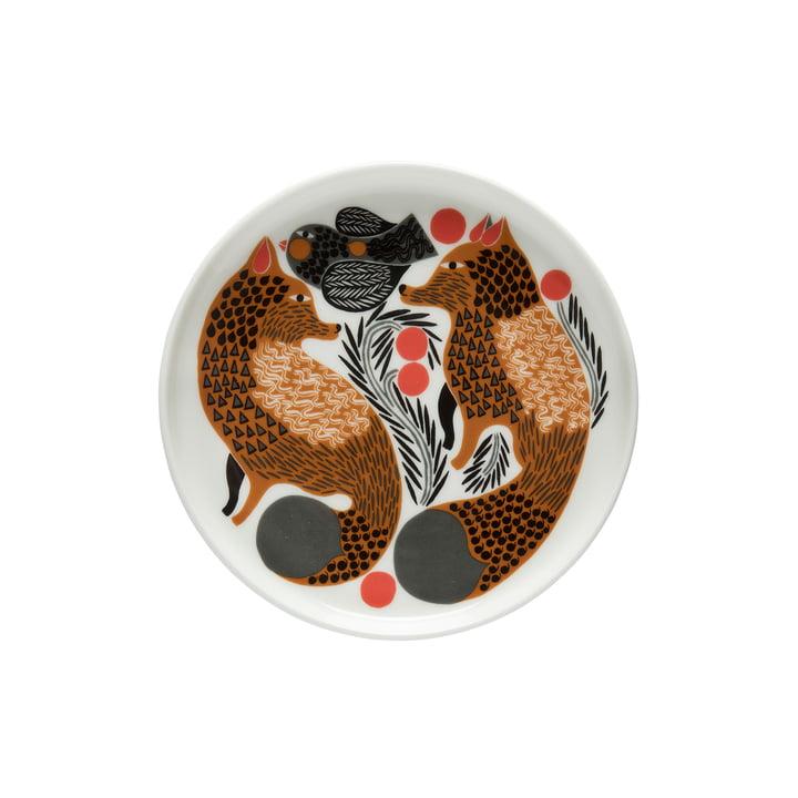 Oiva Ketunmarja plate Ø 13.5 cm from Marimekko in white / brown / black