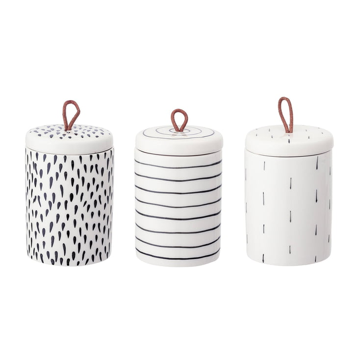 Stoneware storage boxes Ø 7,5 x H 11 cm from Bloomingville in white (set of 3)