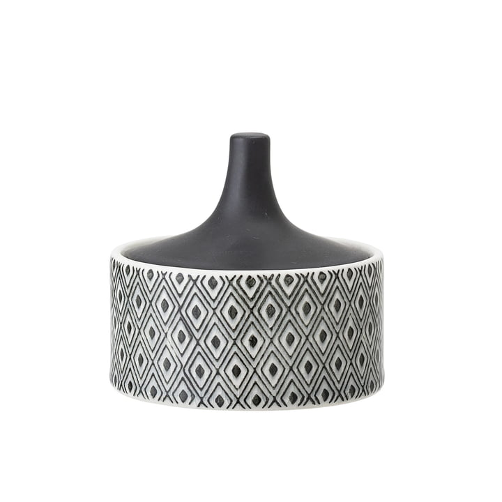 Earthenware vessel with lid Ø 10 x H 9 cm from Bloomingville in black / white