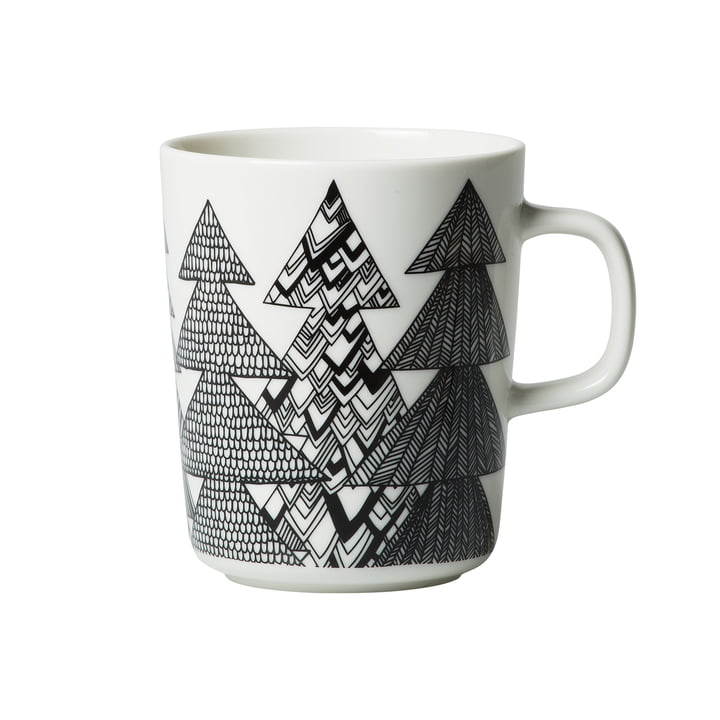 Oiva Kuusikossa cup with handle 250 ml by Marimekko in black / white