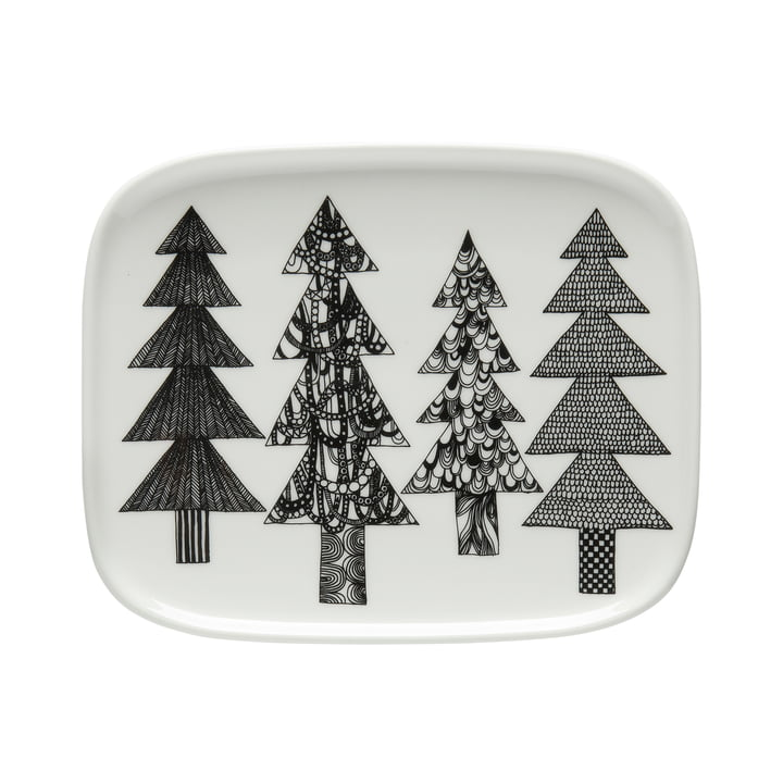 Oiva Kuusikossa serving plate 15 x 12 cm from Marimekko in black / white