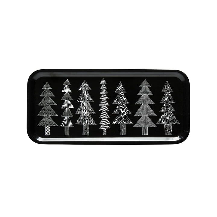 Kuusikossa tray 15 x 32 cm from Marimekko in black / white