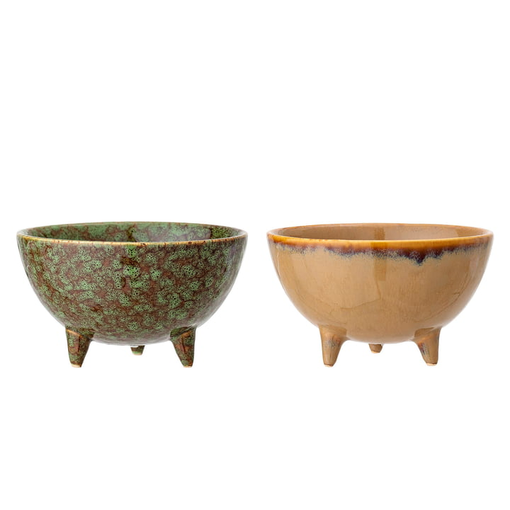 Earthenware planter with feet Ø 12,5 x H 7 cm from Bloomingville in multi-color (set of 2)
