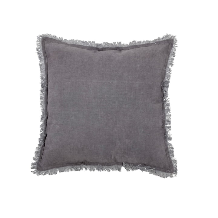 Cotton pillow with fringes 45 x 45 cm from Bloomingville in grey