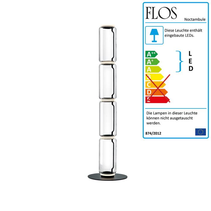 Noctambule floor lamp F4 High Cylinder by Flos in black