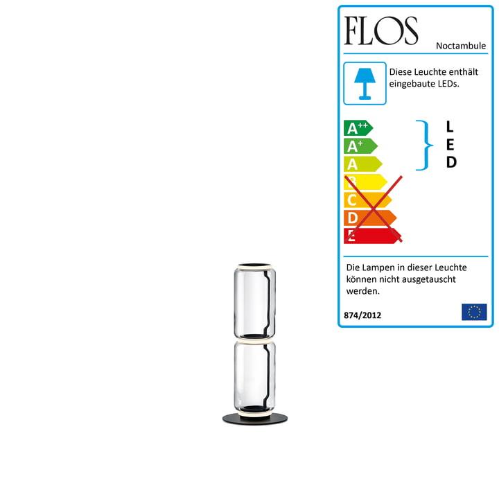 Noctambule floor lamp F2 Low Cylinder by Flos in black