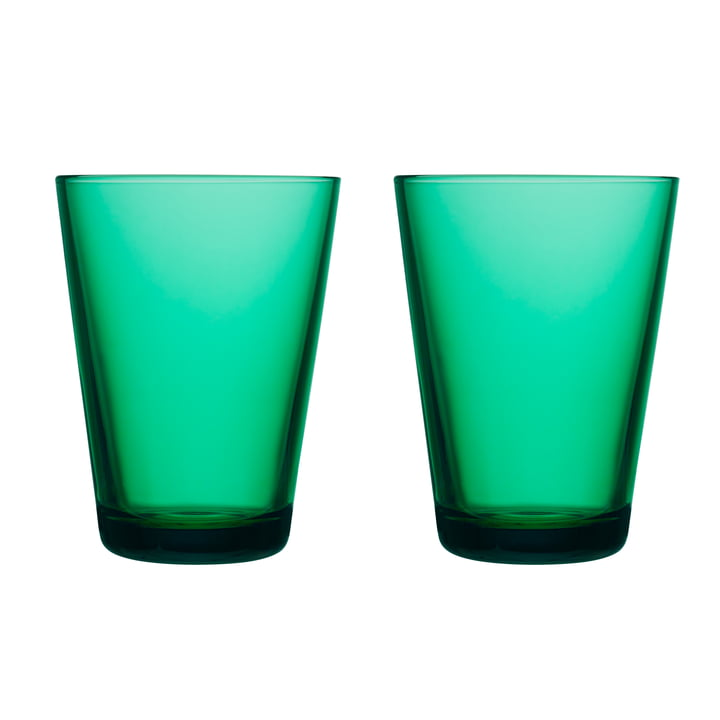 Kartio Drinking glass 40 cl (set of 2) from Iittala in emerald green