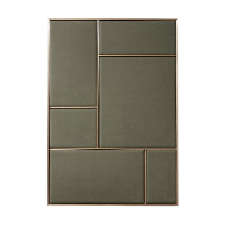 Nouveau pinboard L, 89 x 62,3 cm, brass / oyster grey from Please wait to be seated