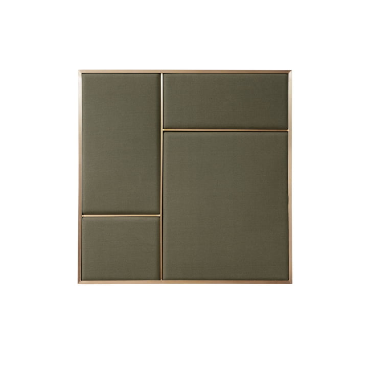 Nouveau Pinboard M, 62.3 x 62.3 cm, brass / oyster grey from Please wait to be seated