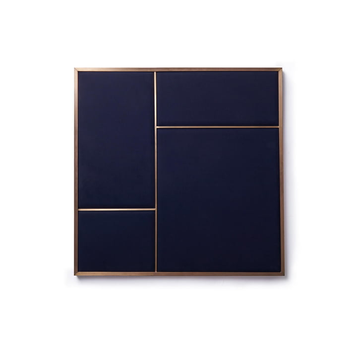 Nouveau pinboard M, 62,3 x 62,3 cm, brass / navy blue from Please wait to be seated