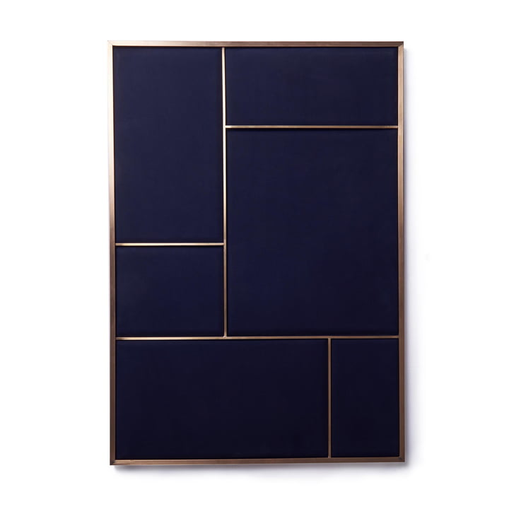 Nouveau pinboard L, 89 x 62,3 cm, brass / navy blue from Please wait to be seated