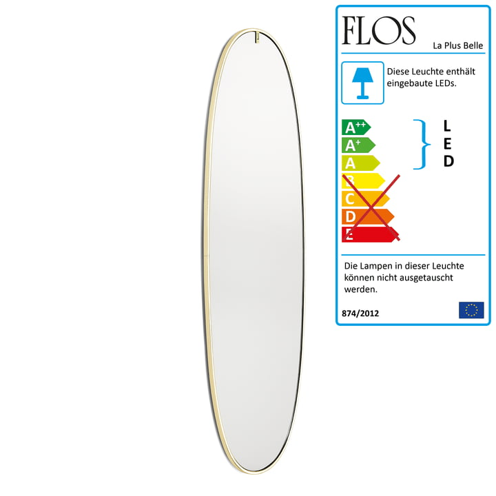 La Plus Belle light mirror from Flos in gold