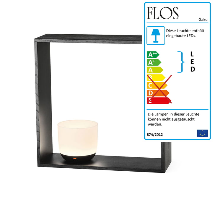 Gaku Wireless Battery Table Light (LED) from Flos in black