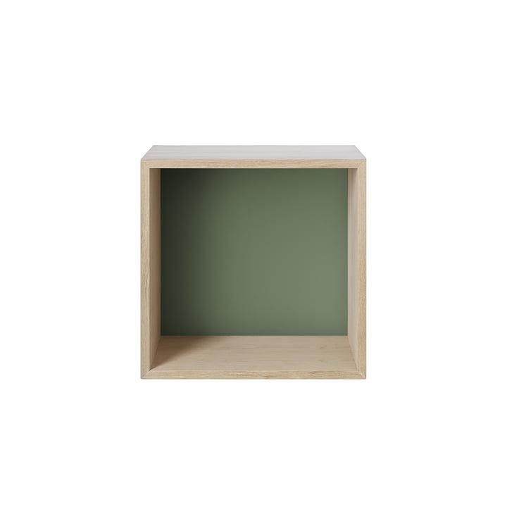 Stacked Shelf module 2. 0, medium / oak, back panel in dusty green from Muuto