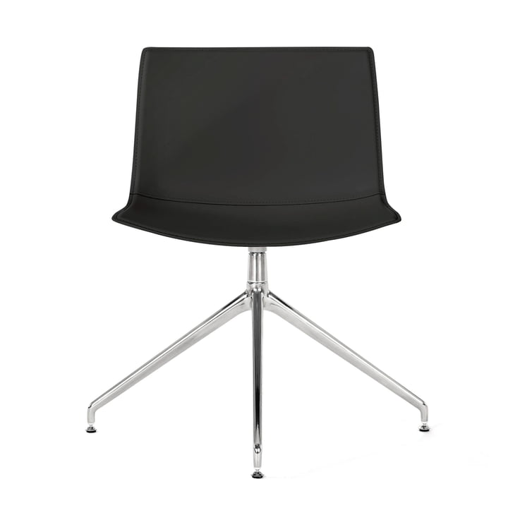 Catifa 53 chair swivel base from Arper in chrome / cover bend leather black (smooth)