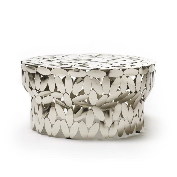Foliae coffee table in nickel by Opinion Ciatti