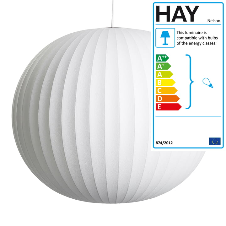 Nelson Ball Bubble Pendant L, Ø 68 x H 5 9. 5 cm, off white by Hay