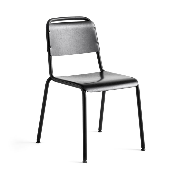 Halftime chair, black powder coated / oak black by Hay
