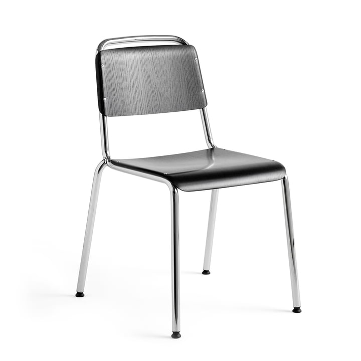 Halftime chair, chrome / oak black stained by Hay