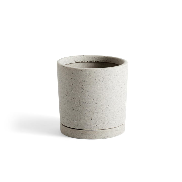 Flowerpot with coaster cylindrical M, Ø 14 x H 14 cm in grey by Hay