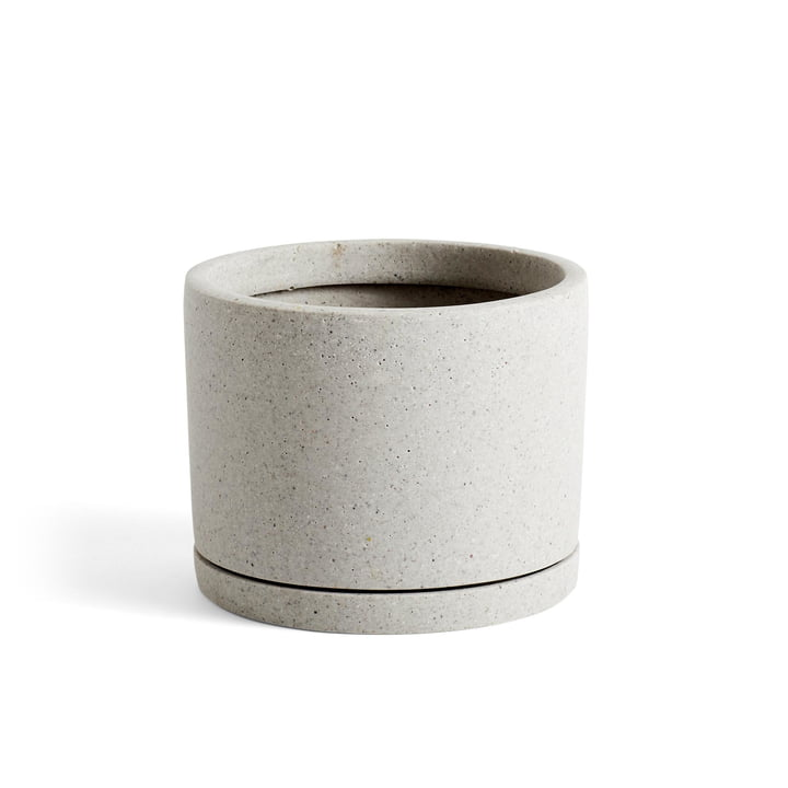 Flowerpot with coaster cylindrical L, Ø 20 x H 14,5 cm in grey by Hay