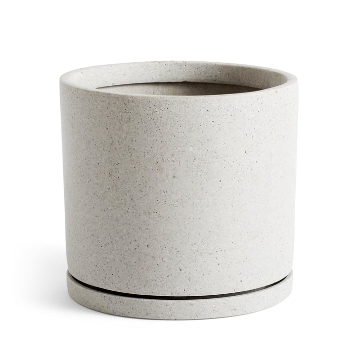 Flowerpot with coaster cylindrical XXL, Ø 24 x H 21,5 cm in grey by Hay