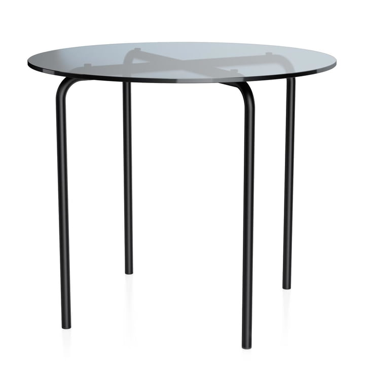 MR 515 Side table Ø 70 x H 60 cm by Thonet made of tubular steel deep black (RAL 9005) / clear glass grey tinted