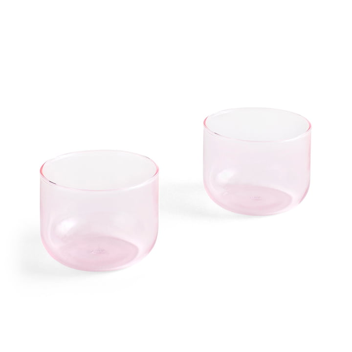 Tint drinking glass 200 ml in pink (set of 2) by Hay