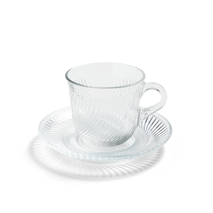Pirouette cup and saucer Ø 14 x H 9 cm by Hay in clear