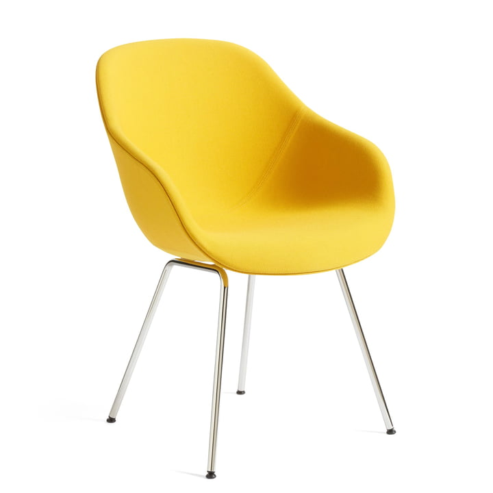 About A Chair AAC 127, Chrome / Steelcut Trio 446 yellow by Hay