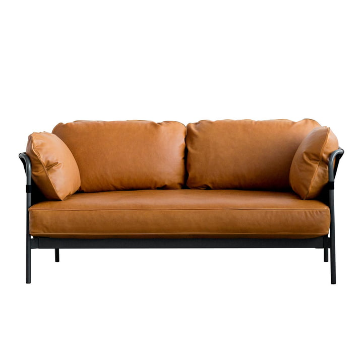 Can sofa, 2-seater, black frame / black canvas fabric / soft leather (Silk cognac SIL0250) by Hay