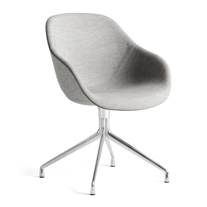 About A Chair AAC 121, polished aluminum / Remix 133 gray by Hay