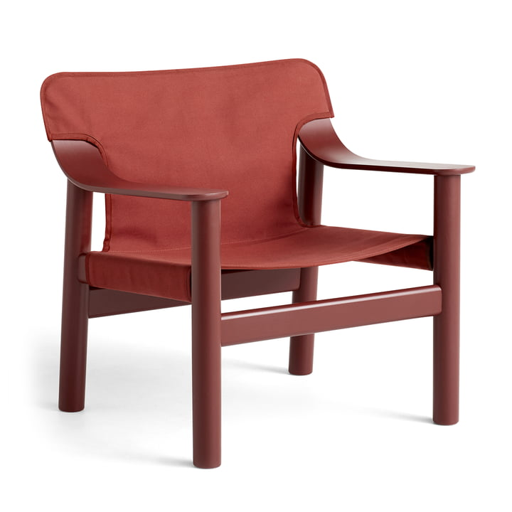 Bernard armchair, beech lacquered / canvas brown-red by Hay