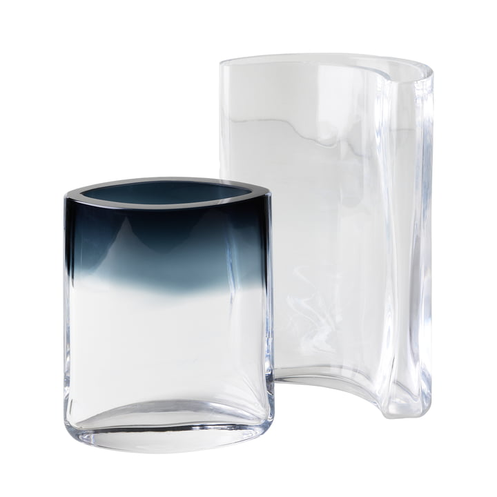 Moon Eye vases in set of 2 by Fritz Hansen in clear / smoke