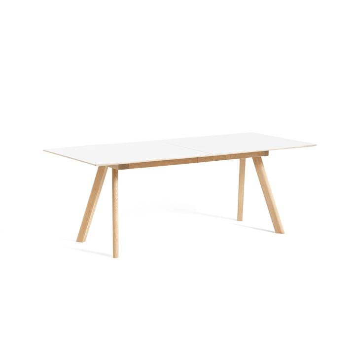 Copenhague CPH30 extendable dining table, L 160/310 x W 80 x H 74 cm, matt lacquered oak / white laminate from Hay