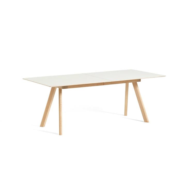 Copenhague CPH30 extendable dining table, L 160/310 x W 80 x H 74 cm, matt lacquered oak / linoleum off white from Hay
