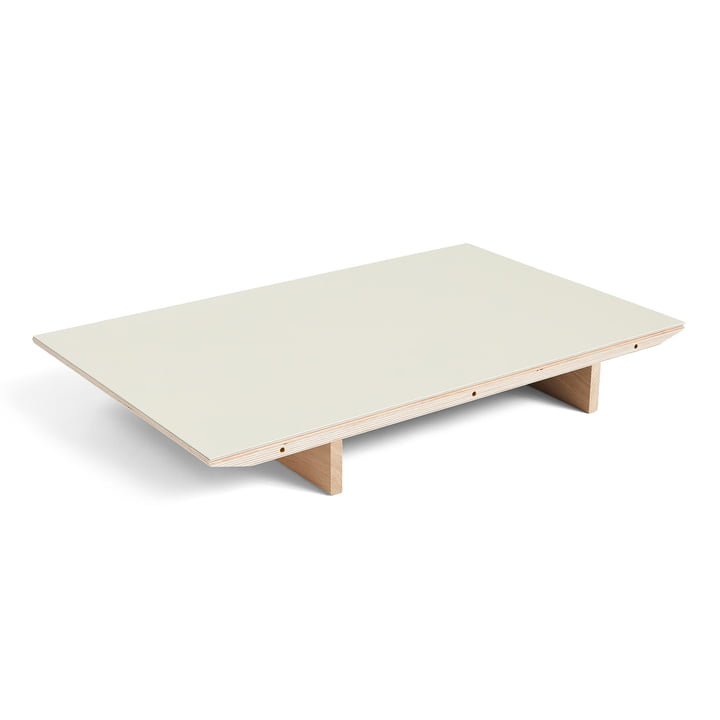 Insert plate for CPH30 extendable dining table, 50 x 80 cm, surface: linoleum off white / edge: matt lacquered plywood from Hay