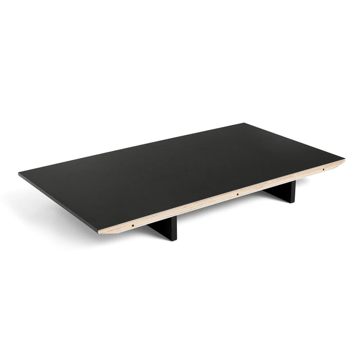 Insert plate for CPH30 extendable dining table, 50 x 80 cm, surface: linoleum black / edge: black stained plywood by Hay