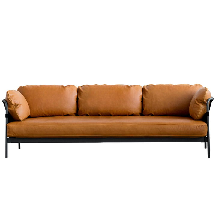 Can sofa, 3-seater, black frame / black shell / Silk cognac leather (SIL0250) by Hay