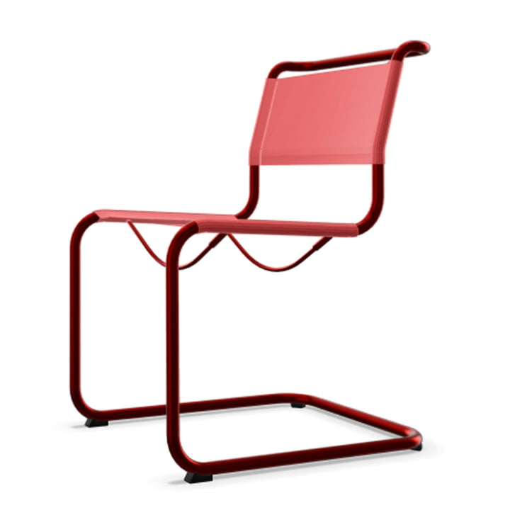 S 33 N All Seasons chair by Thonet with tomato red frame (TS 3013) / cherry fabric