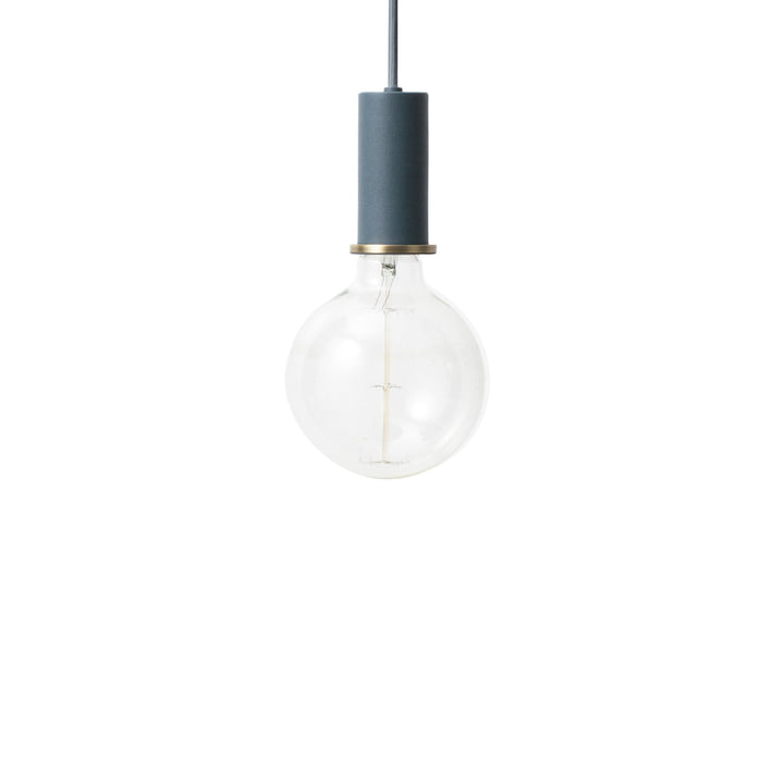 Socket pendant lamp Low from ferm Living in dark blue