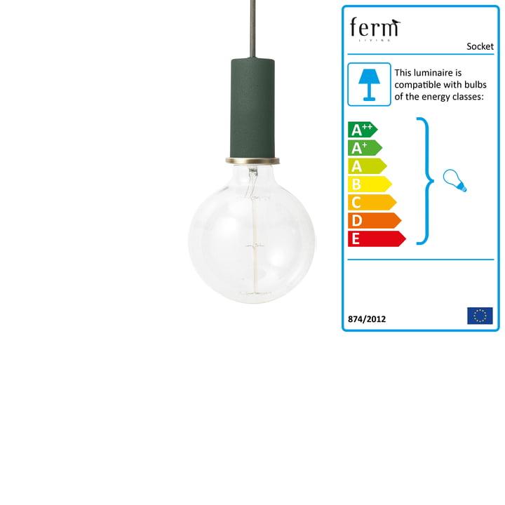 Socket pendant Low by ferm Living in dark green