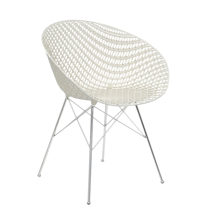Smatrik chair in chromed / white by Kartell