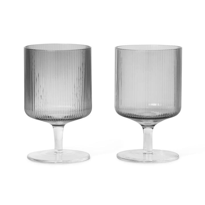 Ripple wine glass from ferm Living in smoked grey (set of 2)