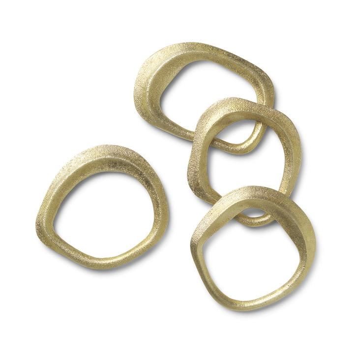Flow napkin rings by ferm Living in brass (set of 4)