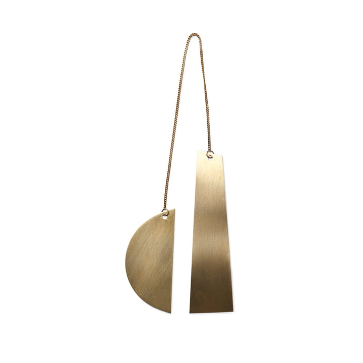 Twin ornament by ferm Living in brass / Half Moon