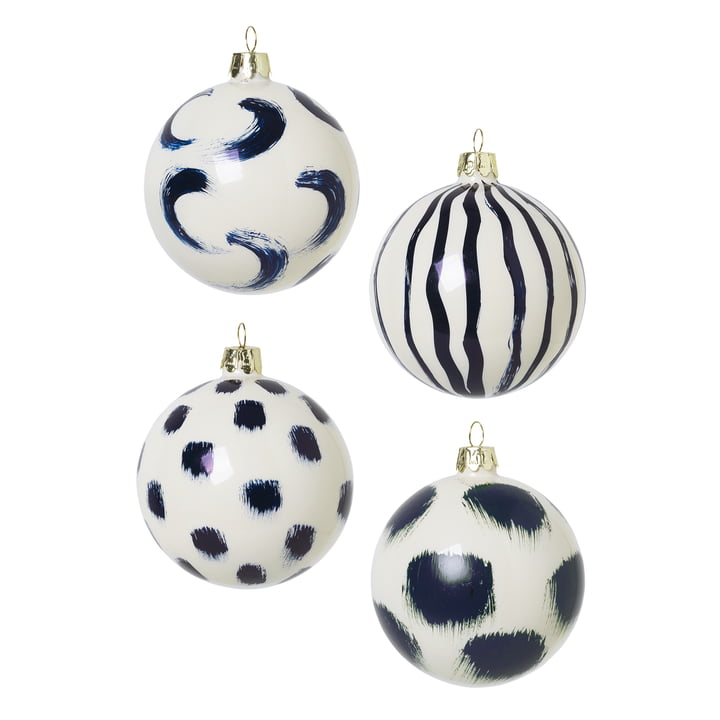Christmas tree balls made of glass by ferm Living in blue (set of 4)