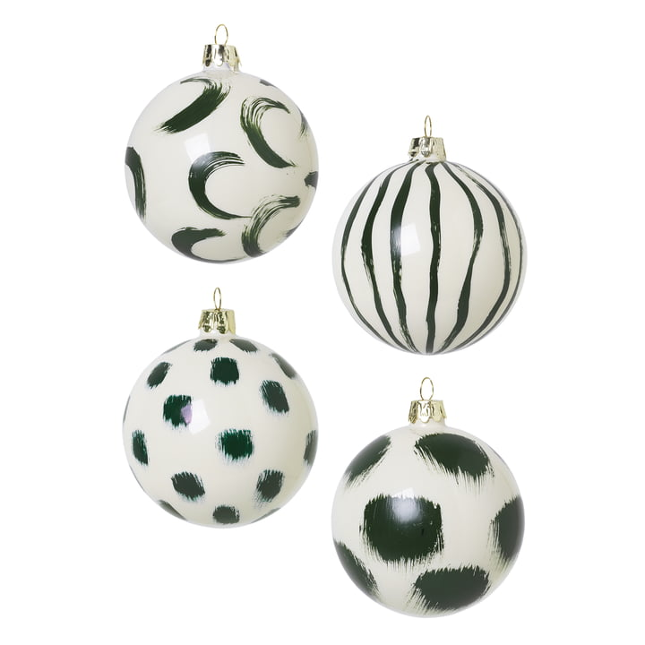 Christmas tree balls made of glass by ferm Living in green (set of 4)