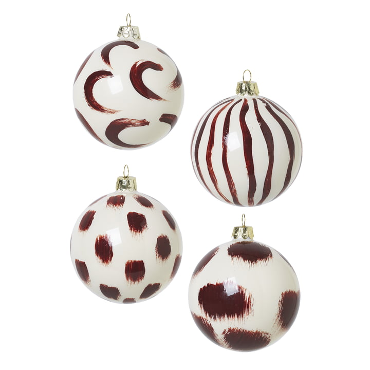 Christmas tree balls made of glass by ferm Living in reddish brown (set of 4)