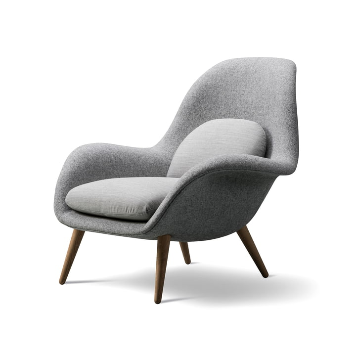 Swoon armchair by Fredericia in oiled oak / Hallingdal 65 body / Canvas 124 cushion